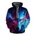 3D Wolf Printed Hoodie Men/Women Cool Animal Sweater Fashionable Unisex Pullover blue red wolf_XXL
