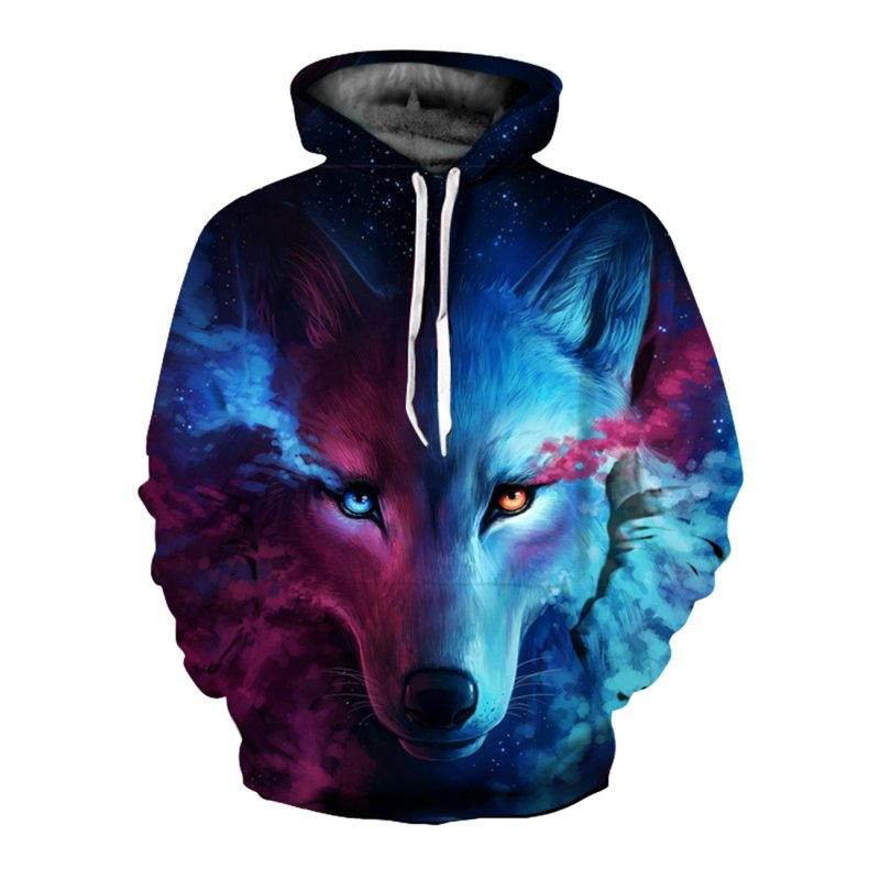3D Wolf Printed Hoodie Men/Women Cool Animal Sweater Fashionable Unisex Pullover blue red wolf_XXXXL