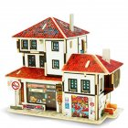 3D Wood Puzzle DIY Model Kids Toy France Style Coffee House Puzzle Building Gifts