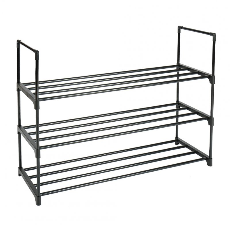 3Layers Assemble Home Shoes Rack Strong Bearing Modern Metal Storage Shelf  black