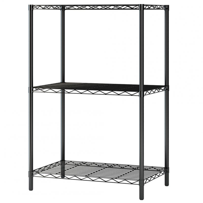 3Layers Metal Storage Rack for Kitchen Living Room Bathroom Strong Bearing Shelf black