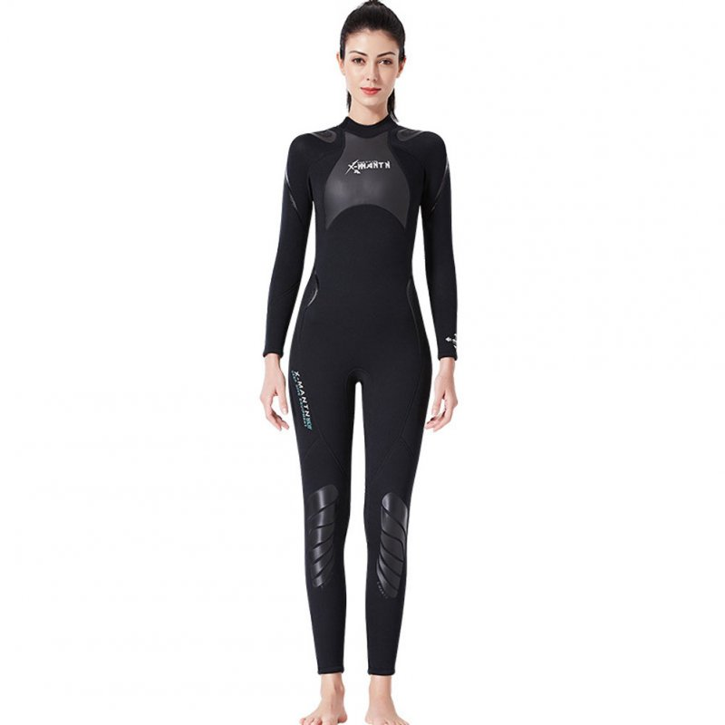 3MM Diving Suit Men Siamese Warm Women Long Sleeve Cold-proof Winter Swimwear Female black_S