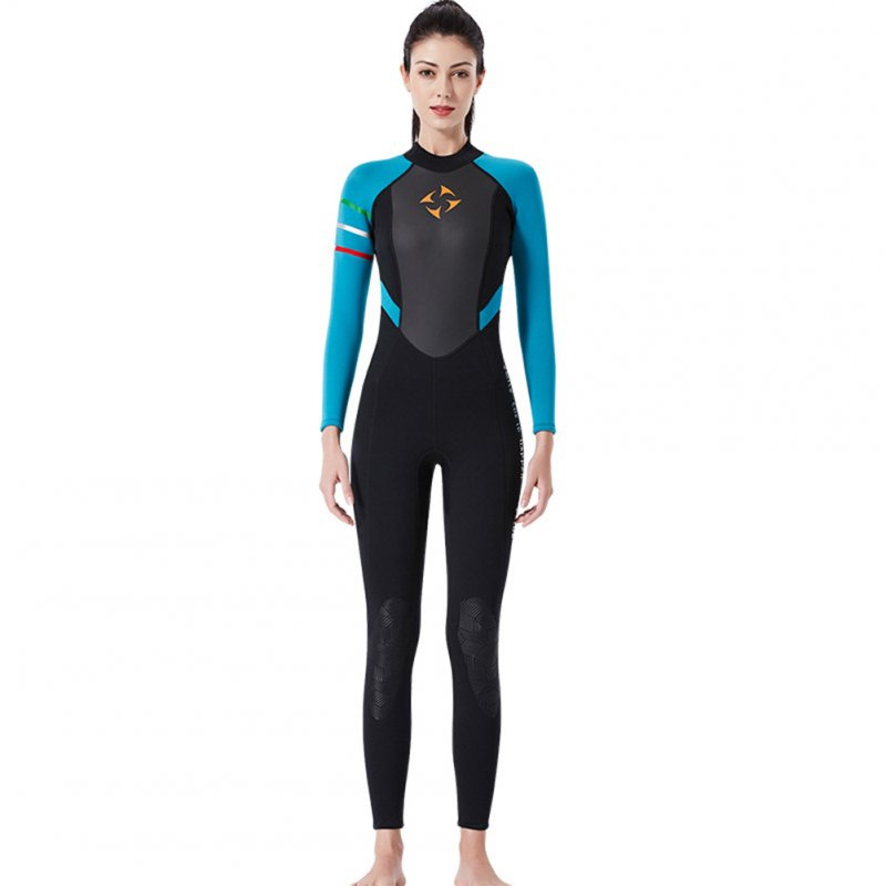 3MM Diving Suit Women Siamese Long Sleeve Warm Outdoor Coldproof Winter Diving Suit Black blue sleeve_M