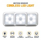 3PCS 6LEDs Square Shape Motion Sensor Night Lights Cabinet Lamp for Closet Wardrobe Hallway Bedroom White light
