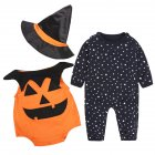3PCS Children's Halloween Performance Costume Baby Pumpkin Jumpsuit + Hat  black_90