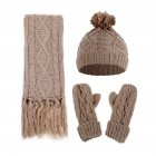 Women Woolen Knitted Hat Muffler Gloves Suit
