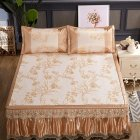 3Pcs/Set Detachable Foldable Sleeping Mat with Zipper Jacquard Pillow Case Set  gold