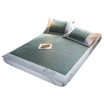 3Pcs/Set Foldable Sleeping Mat Pillow Case Set Argy wormwood/Lavender Wormwood mat-dark green