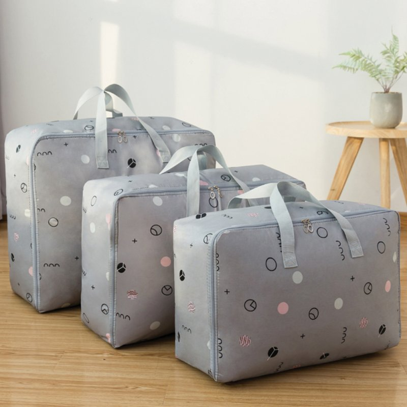 3Pcs/Set Large Capacity Oxford Storage Bag for Quilt Cloth Travel Luggage Container Gray circle_M+L+XL