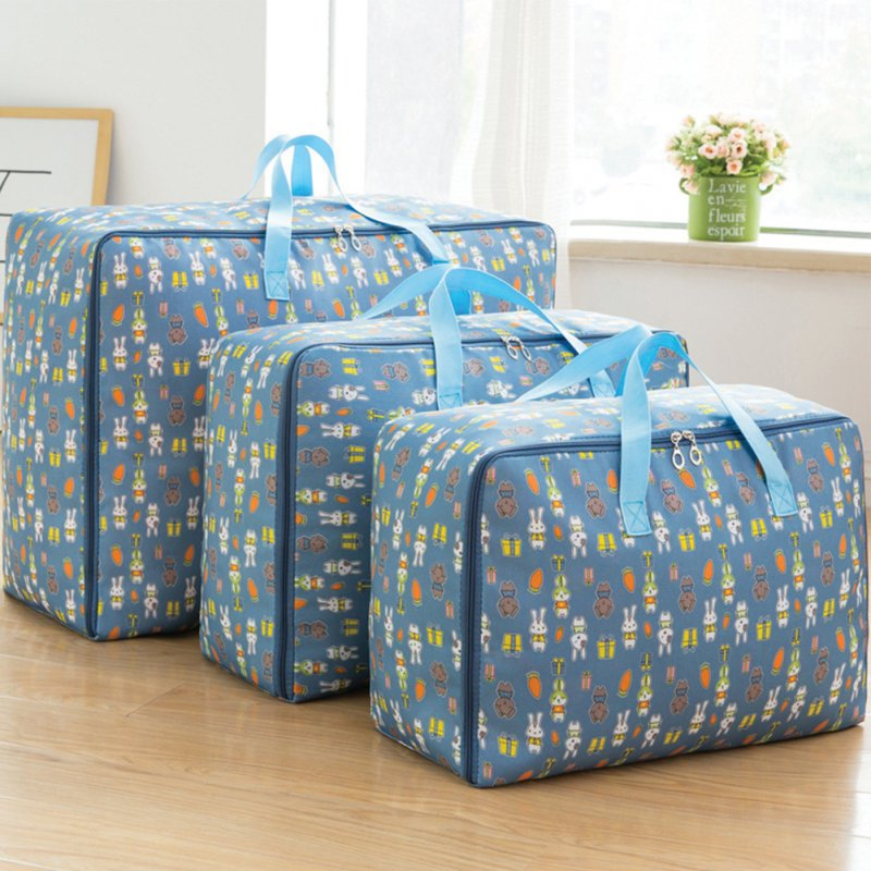 3Pcs/Set Large Capacity Oxford Storage Bag for Quilt Cloth Travel Luggage Container Blue rabbit_M+L+XL