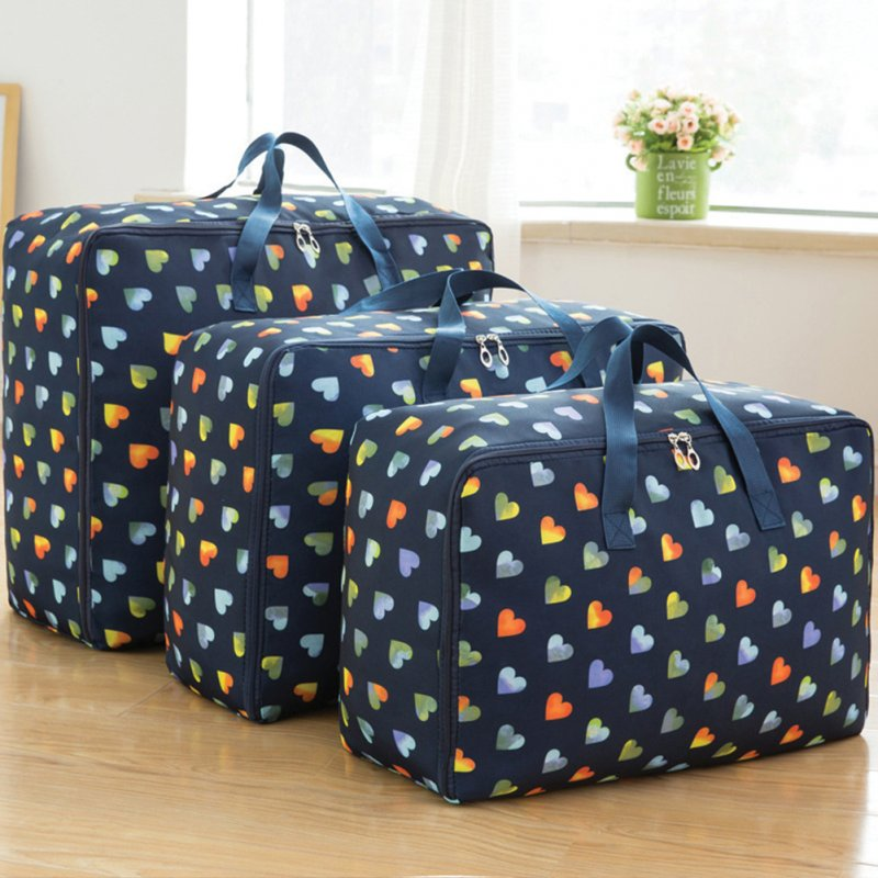 3Pcs/Set Large Capacity Oxford Storage Bag for Quilt Cloth Travel Luggage Container Navy love_M+L+XL