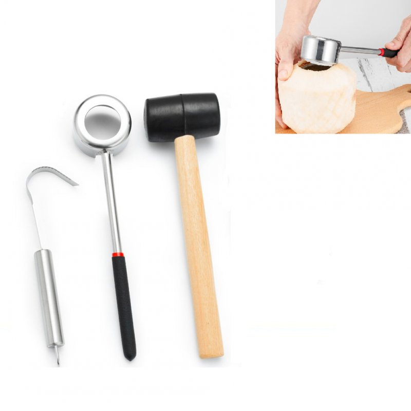 3Pcs/Set Long-Lasting Practical Lightweight Stainless Steel Coconut Opener Wooden Mallet Tool Set 3pcs