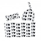 3Pcs/Set Newborn Printing Infant Swaddle Towel Cap Hair Band Set Love heart_80*80