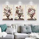 3Pcs/Set Paint Flowers Canvas  Painting Print Wall  Art  Picture Living  Room  Decoration Style One_30x40cm
