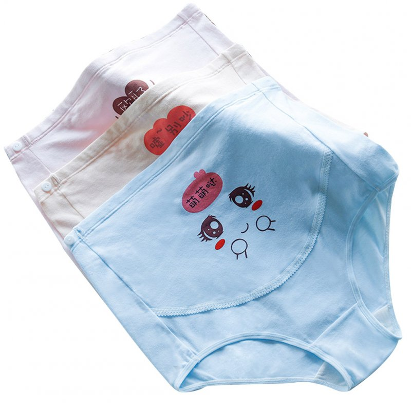 3Pcs/Set Pregnant Women Underpants Briefs Cartoon High Waist Adjustable Maternity Shorts Pink+skin+blue_M
