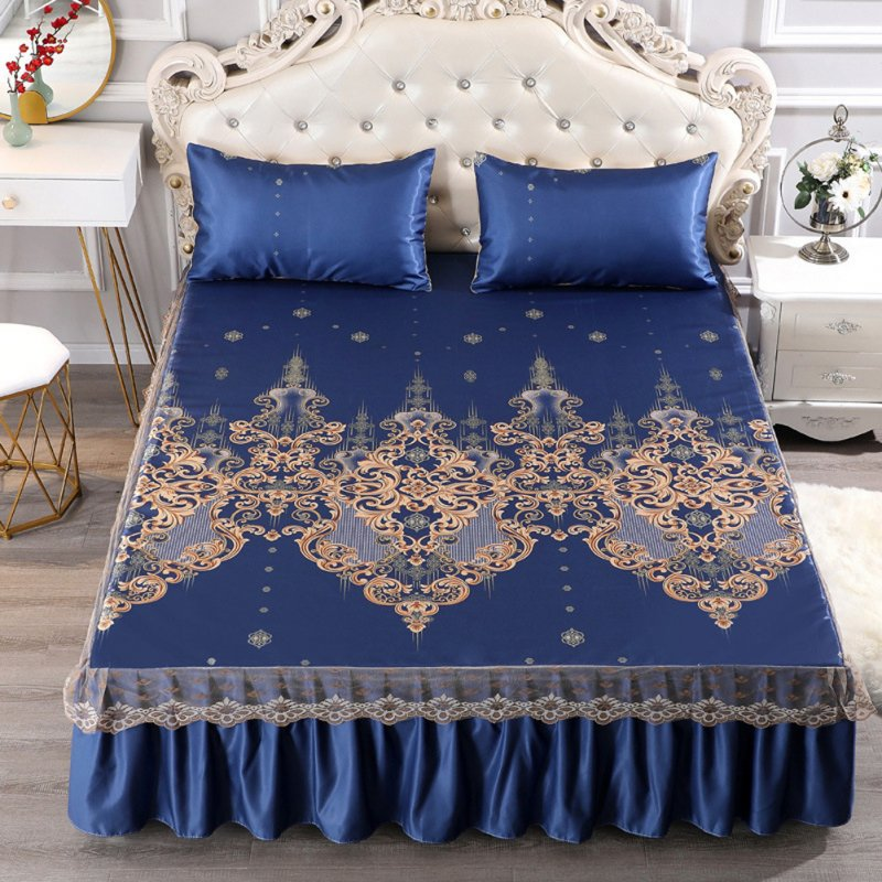 3Pcs/Set Summer Sleeping Mat+Pillowcase Set Washable Lace Bed Skirt Pillow Cover Luxury