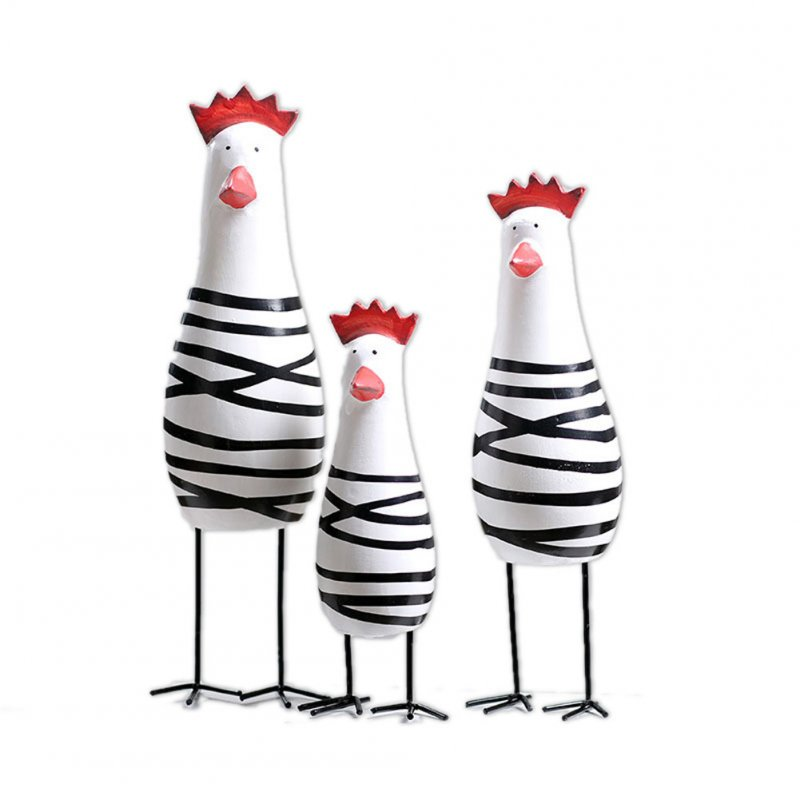 3Pcs/Set Wooden Chick Shape Cartoon Ornament Hand Carved Wood Decoration Crafts Black and white