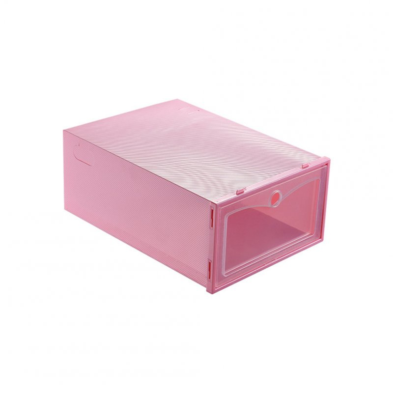 3Pcs Thicken Transparent Dustproof Moistureproof Storage Box for Women Men Shoes pink_31*21.5*12.5cm