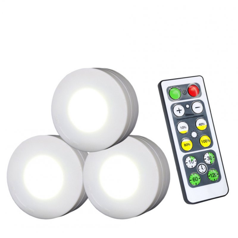 3Pcs Wireless LED Lights Closet Lights with Remote Control Pat Light for Kitchen Under Cabinet Lighting white light 6500K