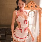 3Pcs/set Lady Sexy Maid Nurse Temptation Costume Bowtie+Backless Tops+Briefs Clubwear Underwear white_One size