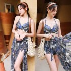 3Pcs/set Women Split Swimsuit Cross Bra Shorts Gown Bikini Swimwear Steel Brim Sexy Lady Beachwear Navy blue 5862_L