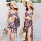 3Pcs set Women Split Swimsuit Cross Bra Shorts Gown Bikini Swimwear Steel Brim Sexy Lady Beachwear Red 5862 XL
