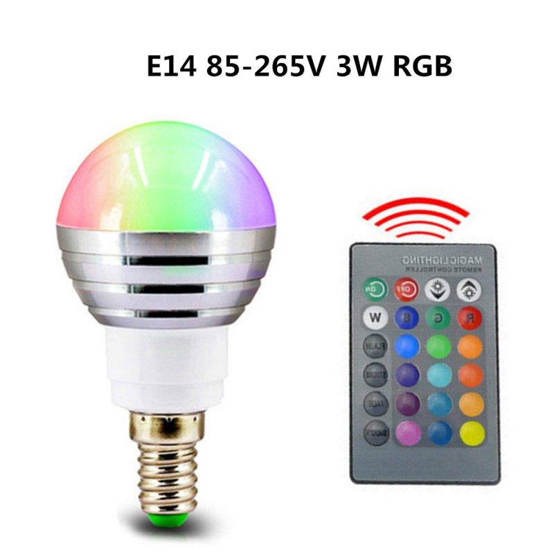 3W RGB LED Bulb Lamp Color Magic Spot Light with Remote Control Dimmable Night Light E14