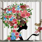 3d Printing Shower  Curtain Waterproof Bathroom Hanging Curtain Decoration Flower and bird girl_180*200cm