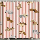 3d Printing Shower  Curtain Waterproof Bathroom Hanging Curtain Decoration Striped cute dog_180*200cm