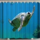 3d Printing Shower  Curtain Waterproof Bathroom Hanging Curtain Decoration Blue_180*200cm