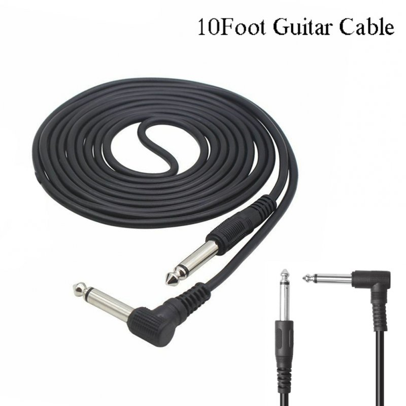 3m 10ft Electric Guitar Amplifier Cable Noise Reduction Adaptor 6.35mm Head for Musical Instrument  black