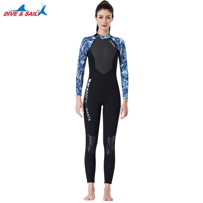 3mm Couples Wetsuit Warm Neoprene Scuba Diving Spearfishing Surfing Wetsuit Female black/blue_XL