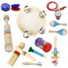 10pcs/set Orff Wooden Musical Instrument Set Hand Tambourine+Rain Sound Tube+Colorful Sound Tube+Flute+Rattle+Barbell+Horn+Maracas+Necklace+Castanet 10pcs/set