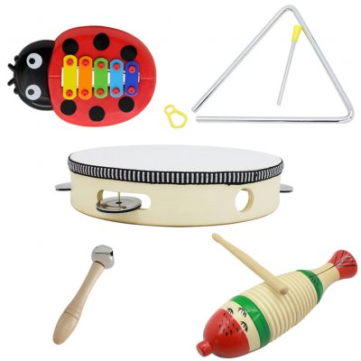 5pcs/set Orff Musical Instrument Set with Fish Frog+8inch Hand Tambourine+Barbell+6inch Music Triangle+Beetle Five-tone Aluminum Pannel Guitar 5pcs/set