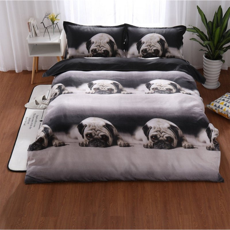 3pcs/2pcs 3D Cute Animal Dog Pug Print Bedclothes Delicate Soft Bedding Set as shown