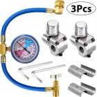 3pcs Automobile Air Conditioner Refrigerant Piercing Tap Valve Kits U-Charging Hose Refrigerant Can Tap with Gauge
