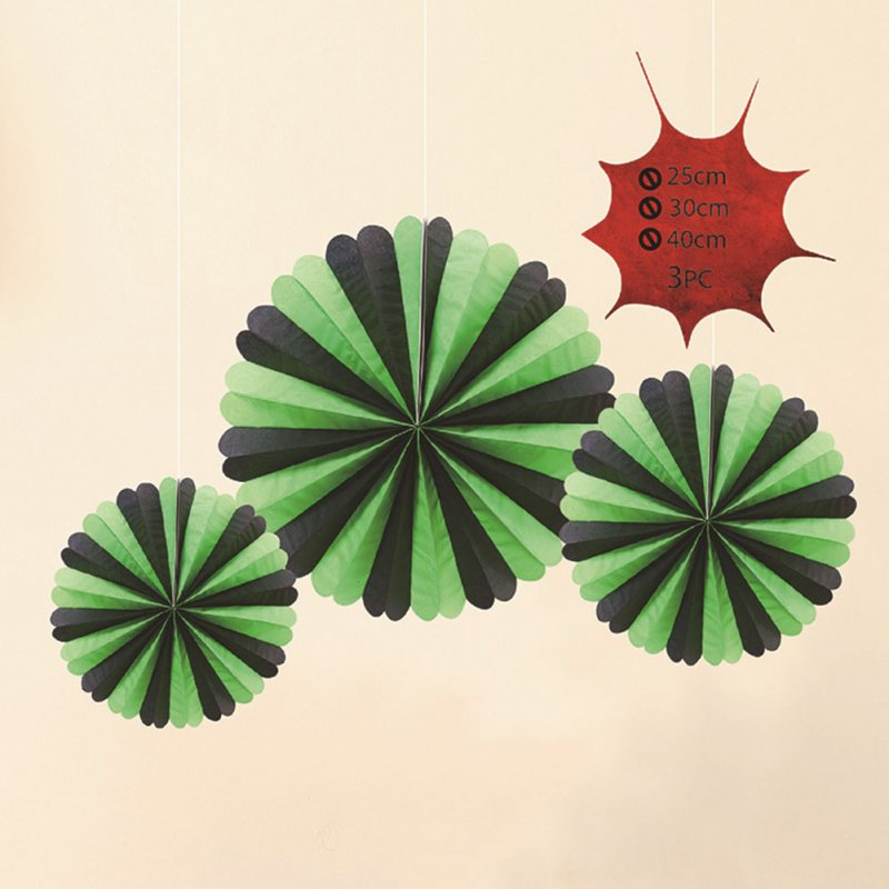 3pcs Halloween Hanging Paper Fans Ghost Decoration Bars Festval  Green black [containing three large, medium and small]
