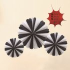 3pcs Halloween Hanging Paper Fans Ghost Decoration Bars Festval  Black and white [containing three large, medium and small]