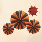 3pcs Halloween Hanging Paper Fans Ghost Decoration Bars Festval  Black orange [containing three large, medium and small]