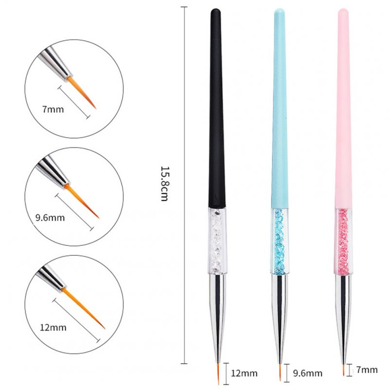 3pcs Professional Portable Pull Line Pen Nail Pen Manicure Tools DIY Carved Nail Pen