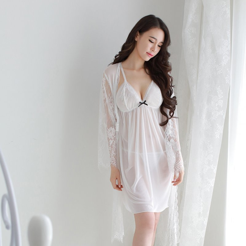 3pcs/Set Woman Lace Sexy Underwears Suit See-through Soft Gauze Sling Nightdress  white_Free size