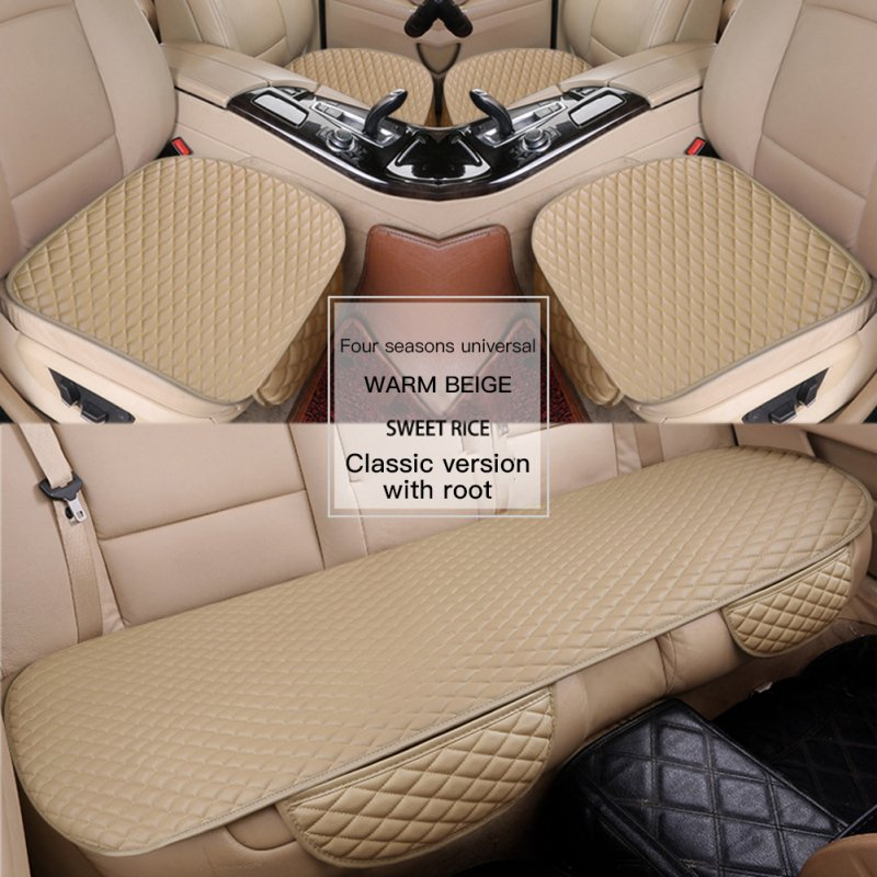 3pcs Universal Car Seat Cover PU Leather Cushions Organizer Auto Front Back Seats Covers Protector Mat  Beige set