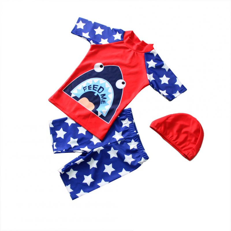 3pcs/set Boy Cute Swimming Suit Sunscreen Suit Tops + Shorts + Hat shark head_M