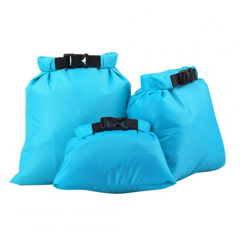 3pcs/set Coated Waterproof Dry Bag Storage Pouch Rafting Canoeing Boating Dry Bag Sky blue_1.5L 2.5L 3.5L
