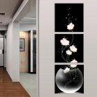 3pcs set Unframed Vase with Flowers Canvas Porch Corridor Frameless Vertical Home Decoration Wall Paintings Pink 60X60cm