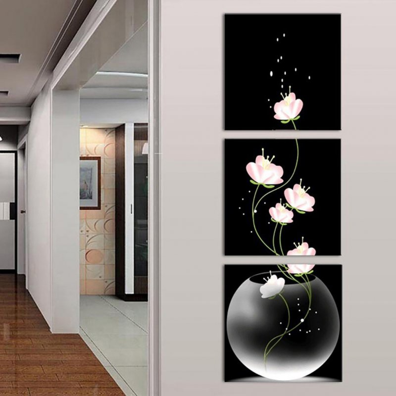 3pcs/set Unframed Vase with Flowers Canvas Porch Corridor Frameless Vertical Home Decoration Wall Paintings Pink_60X60cm