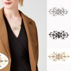 3pcs/set Women Sweater Brooch Lady Flower Pattern Cardigan Dress Shawl Clip Delicate Gift for Girlfriend gold+silver+black