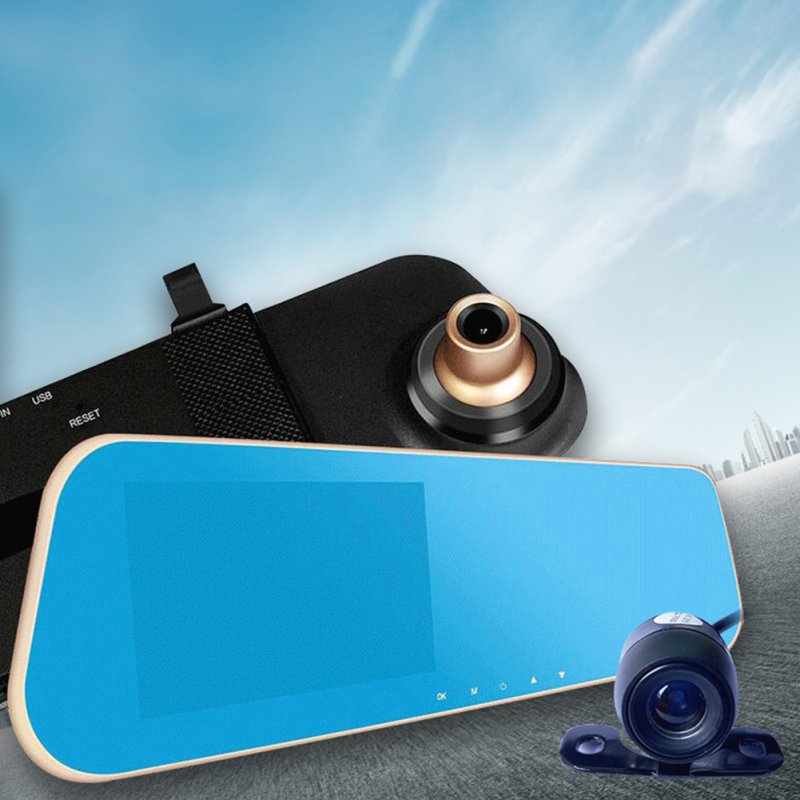 4.3 Front And Rearview mirror recorder 1080P Wide Angle Night Vision Blue Mirror 4.3 inch