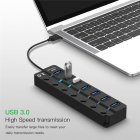 4/7 Port USB 3.0 Hub 5Gbps High Speed On/Off Switches AC Power Adapter for PC 7-port with UK plug