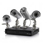 4 Camera and DVR Surveillance Kit that includes 4 Outdoor IP Cameras  H 264  500GB and Supports Mobile Phone Browsing